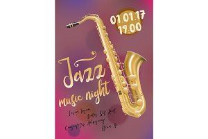 Jazz music, poster template with saxophone