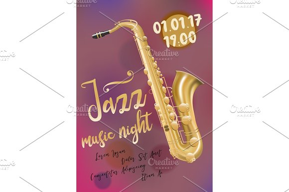 Jazz Music Poster Template With Saxophone