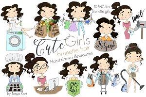Brunette hair Girls Clipart