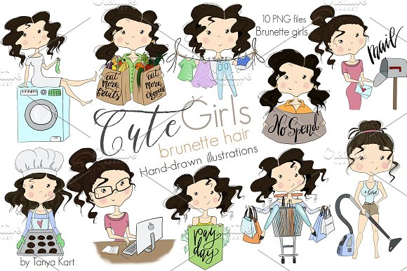 Cute Girls Brunette Hair Clipart