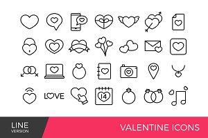 Valentine Line icons