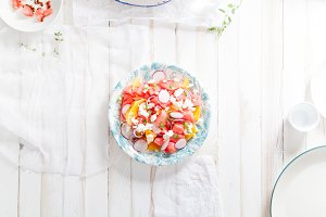 Watermelon salad with orange, radisn and red onion