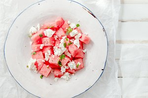 Fresh summer watermelon salad with feta cheese