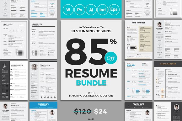 10 resume cv bundle resume templates creative market