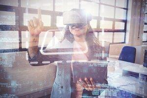 Woman Using VR Headset Mockup