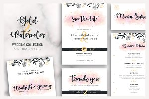 Gold & Watercolor Wedding Collection