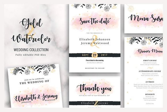 Gold Watercolor Wedding Collection