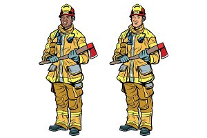 African American and Caucasian firemen in uniform with axes