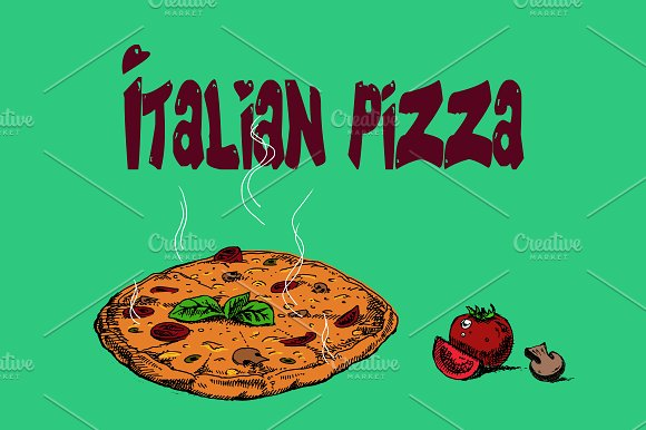 Hot pizza hand drawn in Illustrations