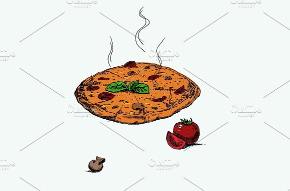 Hot pizza hand drawn in Illustrations - product preview 1