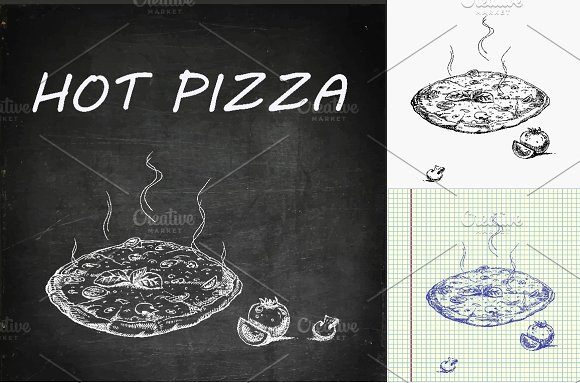 Hot pizza hand drawn in Illustrations - product preview 2