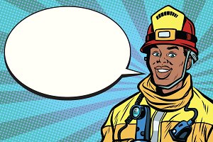 African American firefighter portrait, comic bubble