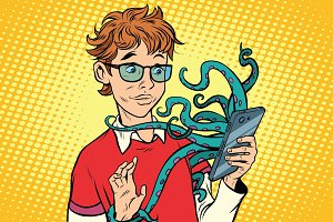 teen and octopus in the smartphone, danger online