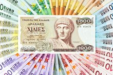 old greek drachma and euro cash note