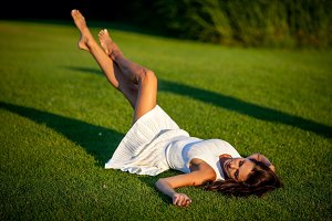 girl relax on green grass