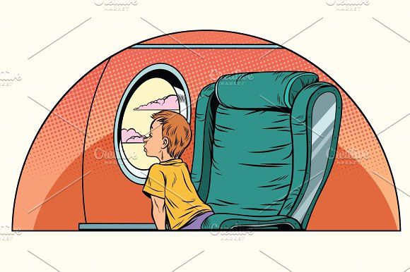 Caucasian Boy Passenger Looks Out The Window On An Airliner