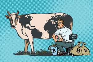 Businessman mines bitcoins milking a cow, world business