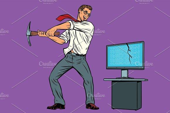 Businessman Breaks The Computer Cryptographer Virus Ransomware