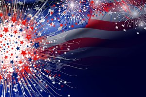 USA flag with firework background
