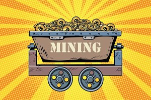 mining trolley with cryptocurrency bitcoin