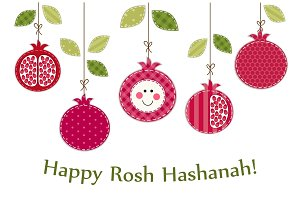 Cute bright pomegranates garland as Rosh Hashanah Jewish New Year symbols