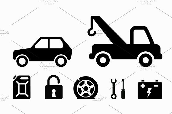 Towing Icons Set