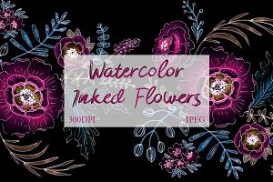 SALE! Watercolor Inked Floral Art