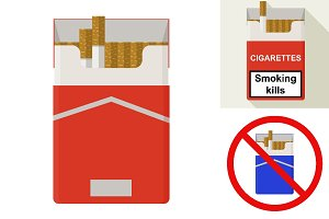 Cigarettes pack. Flat design.