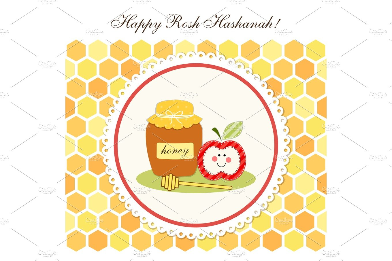 Jewish new year rosh hashanah apple paper cut style holiday cute bright card for rosh hashanah kristyandbryce Images