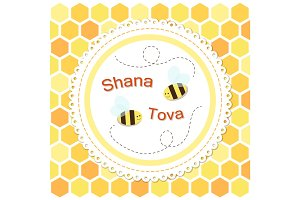 Cute bright card for Rosh Hashanah Jewish New Year symbols