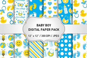 Baby Boy Patterns/Baby Digital Paper