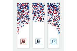 4th July festive vertical banner set