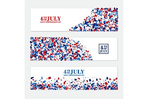4th July festive horizontal banners