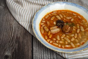 Stew of beans with sausage