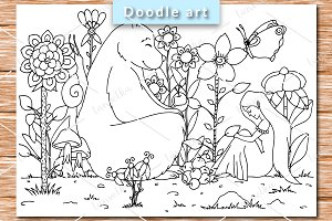 Bear and girl coloring pages