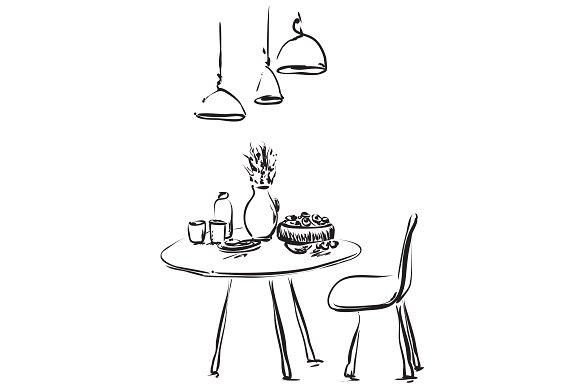 Interior Sketch Dinner In Cafe