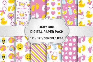 Baby Girl Digital Paper/Baby Pattern
