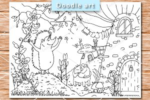 Hedgehog and House coloring pages