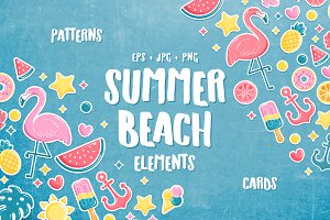 Summer beach elements