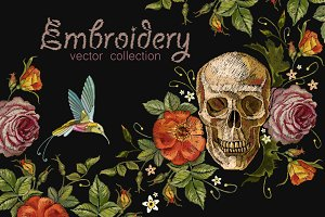 Skulls art embroidery