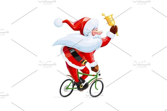 Santa Claus With Bell At Bicycle Christmas Cartoon Character