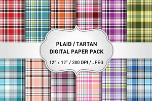 Plaid Digital Paper / Plaid Patterns