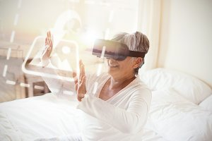 Woman In Bed Using VR Headset Mockup
