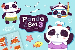 NEW Cartoon panda set 3 (+BONUS)