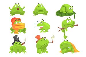Green Frog Funny Character Set Of Different Activities