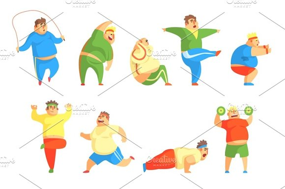 Funny Chubby Man Character Doing Gym Workout Set Of Illustrations