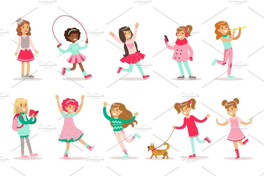 Happy And Their Expected Classic Behavior With Girly Games Pink Dresses Set Of Traditional Female Kid Role Illustrations