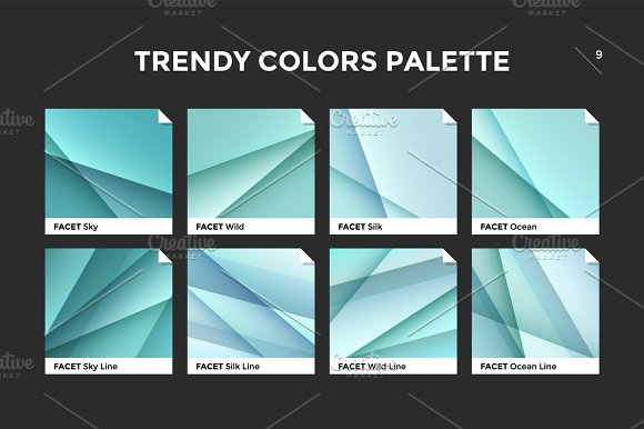 Glass facet gradient template, vector icon