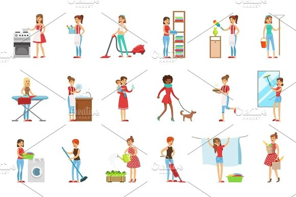 Happy Modern Housewives Cleaning And Housekeeping, Performing Different Household Duties With A Smile in Illustrations