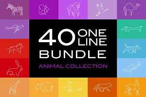40 One line Bundle Animal Vector